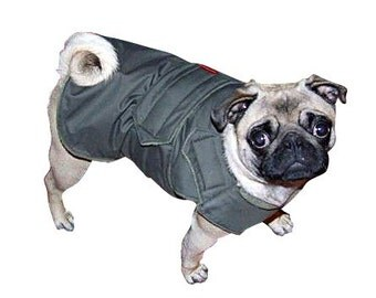 Pug Extra Warm Winter Dog Coat - Gray Dog Jacket - Custom Dog Coat with underbelly protection - Custom made for your dog