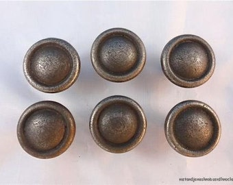 Set of 6 antique style simple ring style iron door knob S1