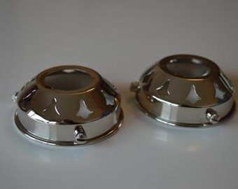 A pair of classic antique style chrome 2 1/4 inch glass light shade galleries NR5