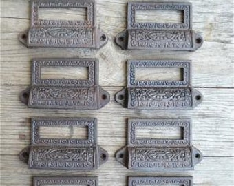 A set of 10 Edwardian style cast iron label holder drawer pulls AL16