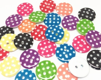 100pcs 18mm Mixed Dots Spotted Resin Round Buttons 2 Holes Sewing Scrapbooking Embellishments