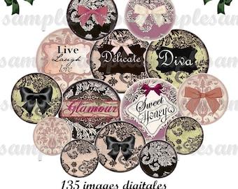 Digital collage sheet, Digital images lace , One inch circle, glamour, vintage, antique, digital collage, bottle cap,instant download