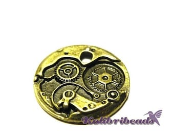 1x Large Steampunk Watch Movement Pendant 25 mm - Antique Gold