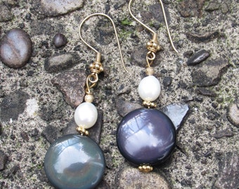 Large Rainbow Obsidian Earrings with Pearls and Gold Accents