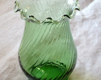 Vintage Ruffled Edge Green Glass Vase
