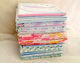 fat quarters, 44 vintage Fabric Pieces, Poly Cotton Bed Sheet Material,  3 different Patterns , Main Colors of Blue and Pink