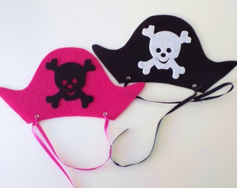 Pirate Party Favors Hats, Pink Pirate Party Hats, Pirate Party -Stiff Felt Party Hats/Party Favors-Set of 6-24
