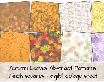 Fall Leaves Stylised Patterns Photographs 2-inch squares digital collage sheet 0274