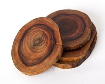 Live Edge Hawaiian Milo Wood Coaster set of 2