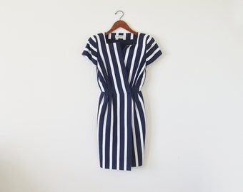 80s stripe dress / navy structured dress / vintage ALBERT NIPON dress