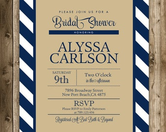 Bridal Shower invitation, typography bridal shower invitation,wedding invitation, navy blue invitation