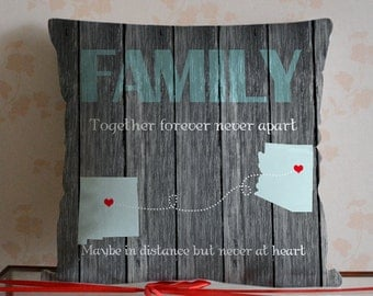 Family Pillow Cover,Custom State to State Pillow Cover,Long Distance Pillow,Unique Wood Texture Pillowcase,Rustic Home Decor,Gift for Father
