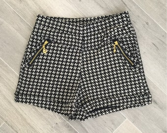 CLEARANCE-Houndstooth High Waisted Shorts