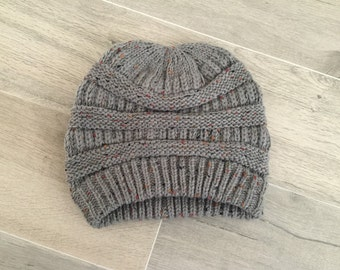 SALE-Beanie, Knitted Beanie, Cable Knit Beanie, Knitted Hat, Slouchy Beanie, Women's Winter Hat in GREY