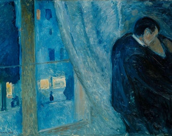 Edvard Munch: Kiss by the Window. Fine Art Print/Poster (00880)