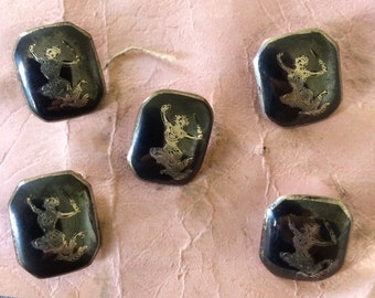 Vintage Siam Sterling Silver Buttons 1950's