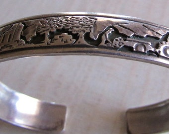 Sterling Silver Story Cuff Bracelet
