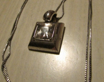 Sterling Silver and Clear Faceted Square Stone Necklace