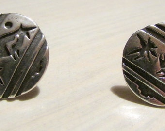 Sterling Silver Matador and Bull Post Earrings