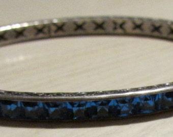 Sterling Silver Hinged Blue Faceted Stone Bangle Bracelet