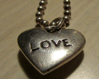 Sterling Silver LOVE Heart Pendant and Chain