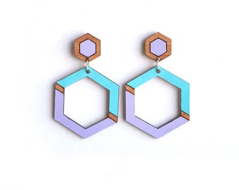 Hexagon Drop Earrings - Geometric Wooden Earrings - Wood Earrings