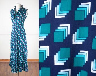 1960s Psychedelic Maxi Dress / Vintage 60s Dress / Boho Chic Mod Dress / Graphic Print Dress / Op Art Dress / Teal Dress / Geometric Print