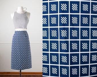 Navy Blue Pencil Skirt, 60s Skirt, 60s Clothing, Mod Skirt, High Waist Skirt, Midi Skirt, Wiggle Skirt, Secretary Skirt, Mid Century Modern