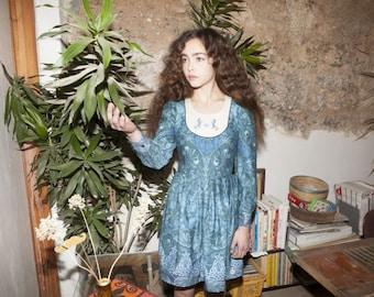 Vintage style dress , blue floral dress, art nouveau print, embroidered dress, unicorn embroidery, unicorn dress,  pleated dress