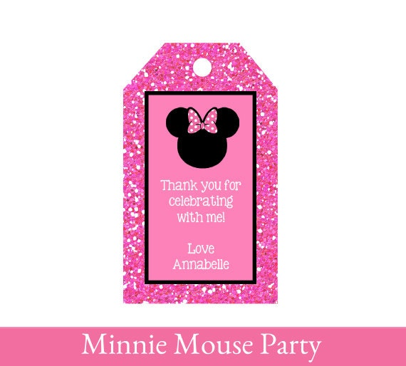 Minnie Mouse Favor Tags Thank You Tags Minnie Mouse Loot Bag