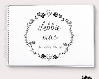 Custom photography logo  Floral Circle Wreath  Premade logo Photography  Elegant Boutique Branding  Logo for Small Business  Handmade Logo