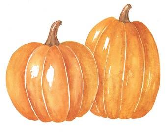 Two Watercolor Pumpkins PNG Clipart, 8x10 Watercolor Print Instant Digital Download, Fall Clip Art Printable Wall Art
