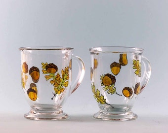 Acorn Coffee Mugs - Hand Painted - Set of Two