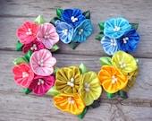 Multicolor flower ponytail holder Kanzashi hair clip Girls ponytail pigtail Toddler flower ponytail Kids hair clip flower scrunchies