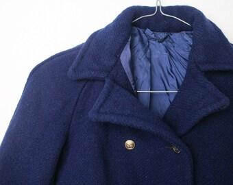 Vintage Kinder Mantel Gr. 116 Peacoat Caban Matrose Anker Matrose dunkelblau Sailor