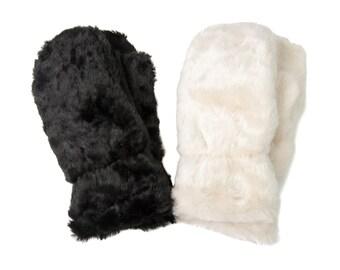 Fur Mittens, Warm Mittens, Faux Fur Mittens, Black Faux Fur Mittens, Cream Faux Fur Mittens, Lined Mittens, Trending Mittens