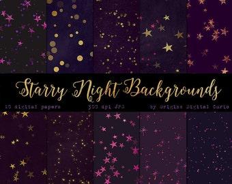 Purple Starry Night Backgrounds, Gold Stars Digital Paper, Purple and Gold Star Celestial Bokeh Digital Scrapbook Paper, gold glitter stars