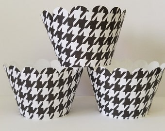 Black & White Houndstooth Cupcake Wrappers, Party decorations, cupcake holders, party supplies, cupcake wraps, cupcake sleeves, paper goods