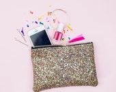Golden Confetti Multi Glitter Party Clutch Purse Make Up Bag.