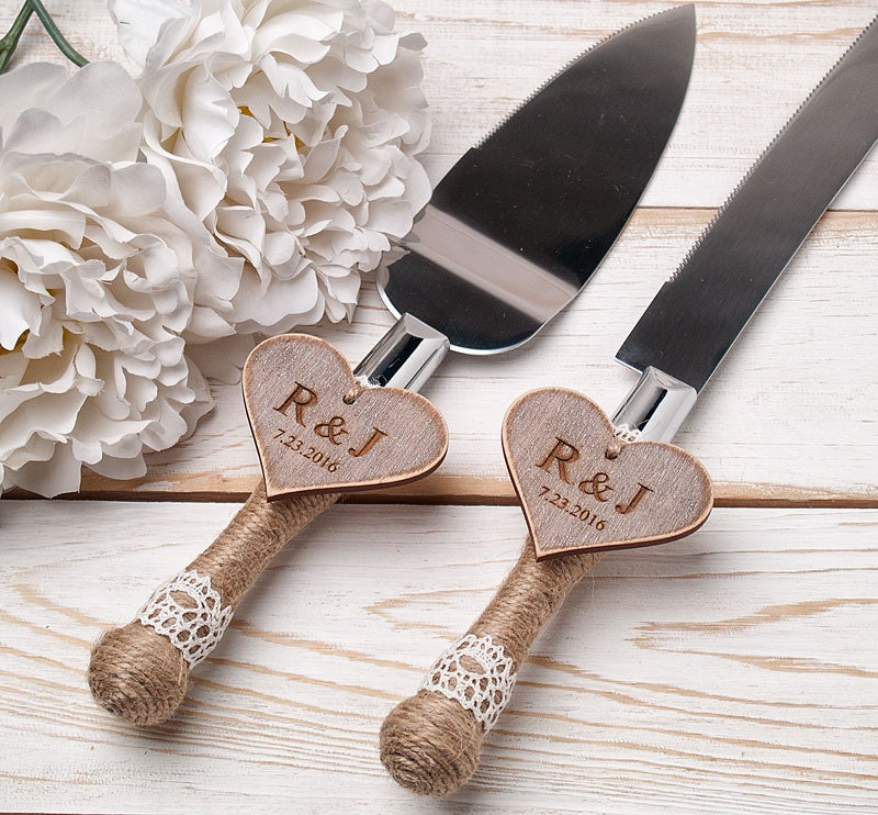 wedding cake serving set personalized cake serving set rustic wedding cake cutting set wedding cake 24304