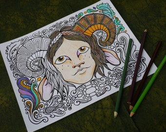 Fantasy-Inspired Printable Coloring Page - Faun of the Woods