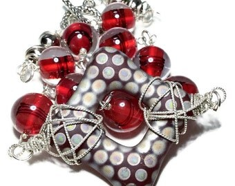 Beaded Necklace Red - Glass Beaded Necklace, Czech Glass Jewelry, Vintage Glass Necklace