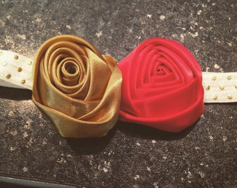 Gold and red satin rosette headband