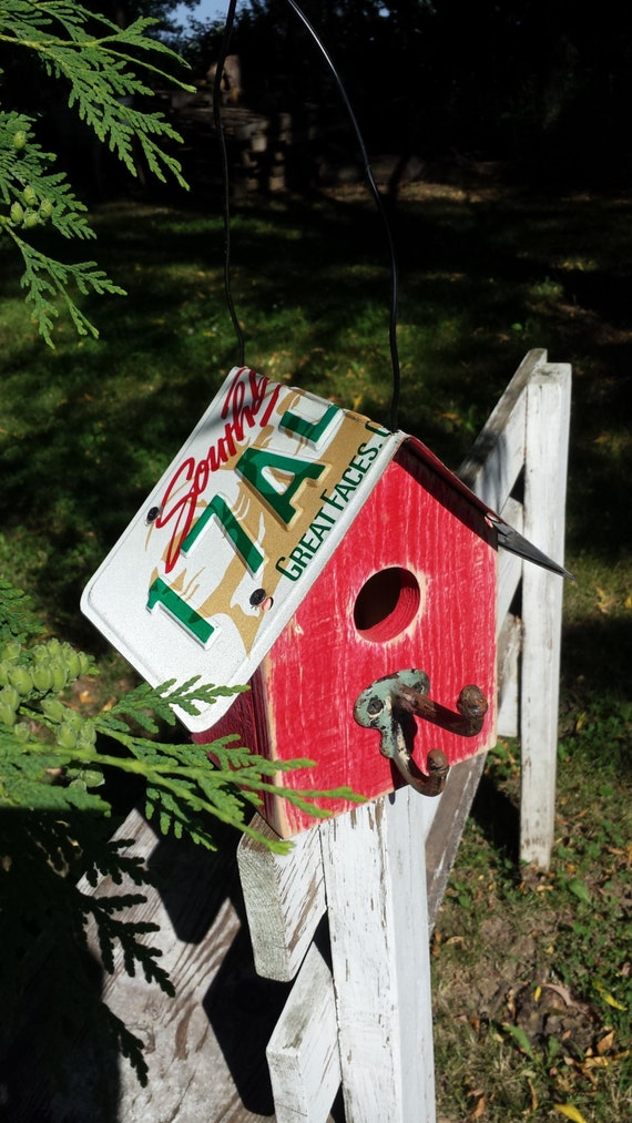 South Dakota License Plate Roof On A Rustic Birdhouse With Old
