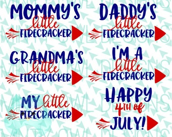 Cricut SVG - Little Firecracker Set Cut FIle - Silhouette SVG - Cutting Files - July 4th - Independence Day - Happy July 4th - Tshirt