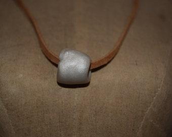 Clay Bead Chocker- White Pearlized Bead
