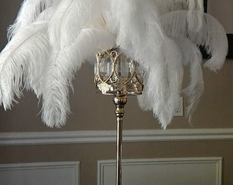 "24"" Tall GATSBY LARGE CRYSTALS Gold Crystal Globe Stand Ostrich Feather Centerpiece Great Gatsby/Wedding/Old Hollywood/Glitz and Glam themes"