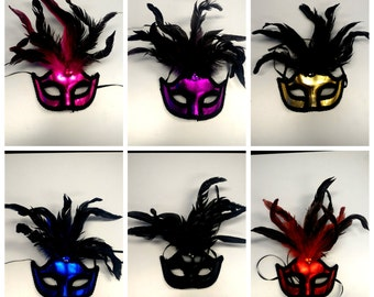 Feather Masquerade Mask - Venetian Style Halloween Mask- For Masquerade Ball, Prom, Costume Party, Wedding