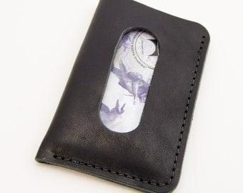 The Card Courier - Black Horween® Essex Front Pocket Card Wallet