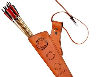 MAYARMS Archery Quiver Leather Quiver Arrow Case Traditional Manchu Archery a Dozen of Bamboo Arrows Archery Arrow